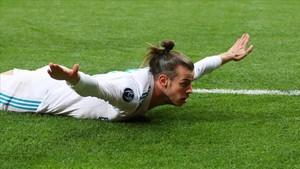 Bale celebra su segundo gol en la final de Champions.