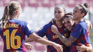 Las jugadoras del Barça celebran el 0-1 de Jenni Hermoso al Sevilla.