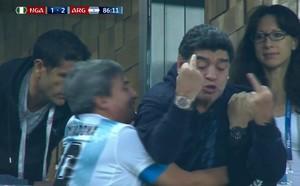 Los lamentables gestos de Maradona durante el Nigeria - Argentina.
