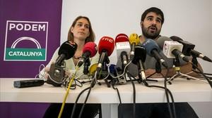 Los portavoces de Podem Catalunya, Jéssica Albiach y Marc Bertomeu.