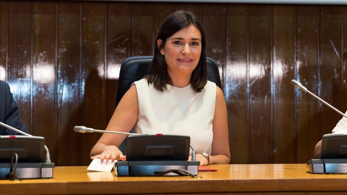 La ministra de Sanidad Carmen Monton durante la reunión celebrada este martes