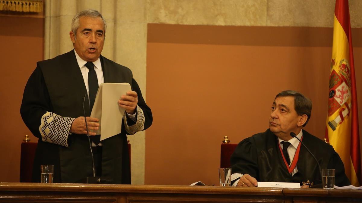 Francisco Bañeres en la toma de posesión de su cargo como fiscal superior de Catalunya, este lunes.