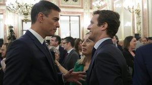 Pedro Sánchez, Ana Pastor y Pablo Casado, en el Congreso.
