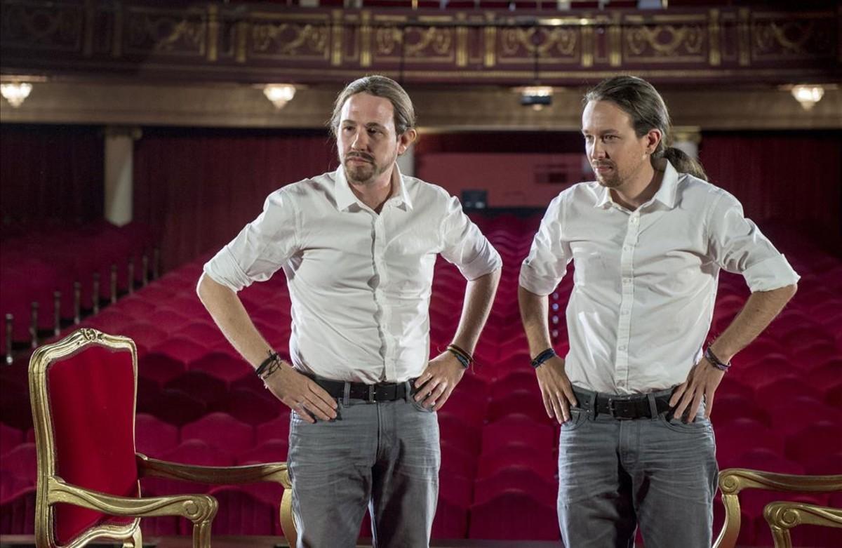 Pablo Iglesias y Joaquín Reyes, disfrazado del político, en el programa de Cuatro Feis tu feis.