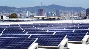 Placas solares en la cubiertade una empresa de Barcelona.