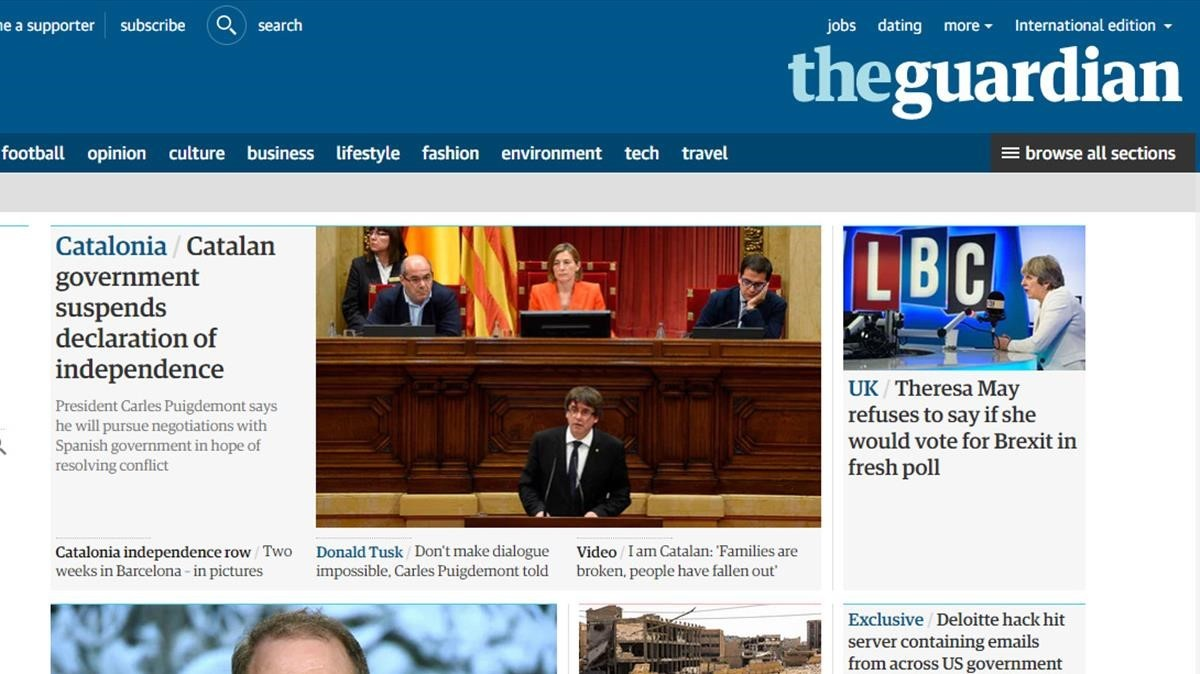 La portada de la edición on line del británico The Guardian.