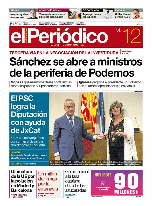 La portada de EL PERIÓDICO del 12 de julio del 2019