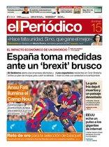 La portada de EL PERIÓDICO del 15 de septiembre del 2019.