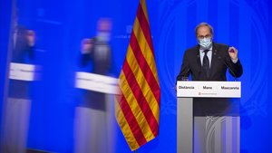 El President Quim Torra comparece en la Generalitat.