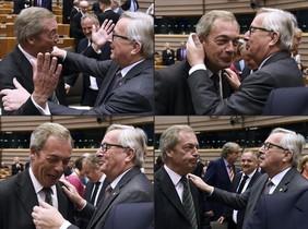 El presidente de la Comisión Europea, Jean-Claude Juncker, y el léder del UKIP, Nigel Farage, en el Parlamento Europea, en Bruselas.