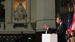 El presidente francés Emmanuel Macron, durante su discurso en la Universidad de La Sorbona, en París.