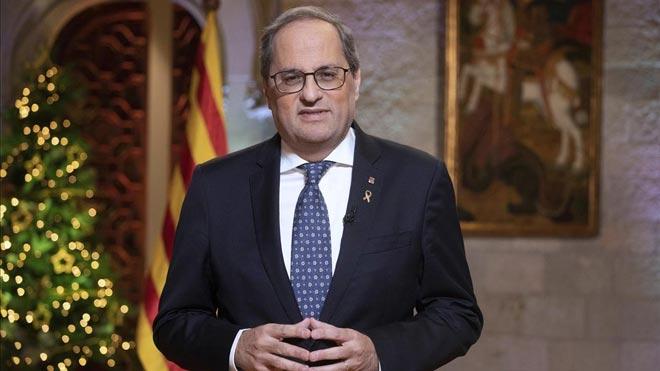 El presidente de la Generalitat, Quim Torra, en su mensaje de Fin de Año.