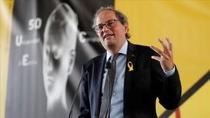 Quim Torra, durante la clausura de la Universitat Catalana d'Estiu, el pasado 23 de agosto, en Prada de Conflent, en Francia.