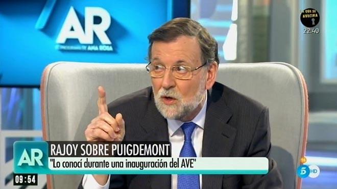 Mariano Rajoy, con Ana Rosa Quintana (T-5).