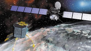 Recreación del descenso del módulo Philae, de la misión europeaRosetta, sobre el cometa 67P.