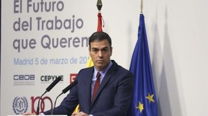 El presidente del Gobierno, Pedro Sánchez, en la inauguración de laII Conferencia Nacional Tripartita.