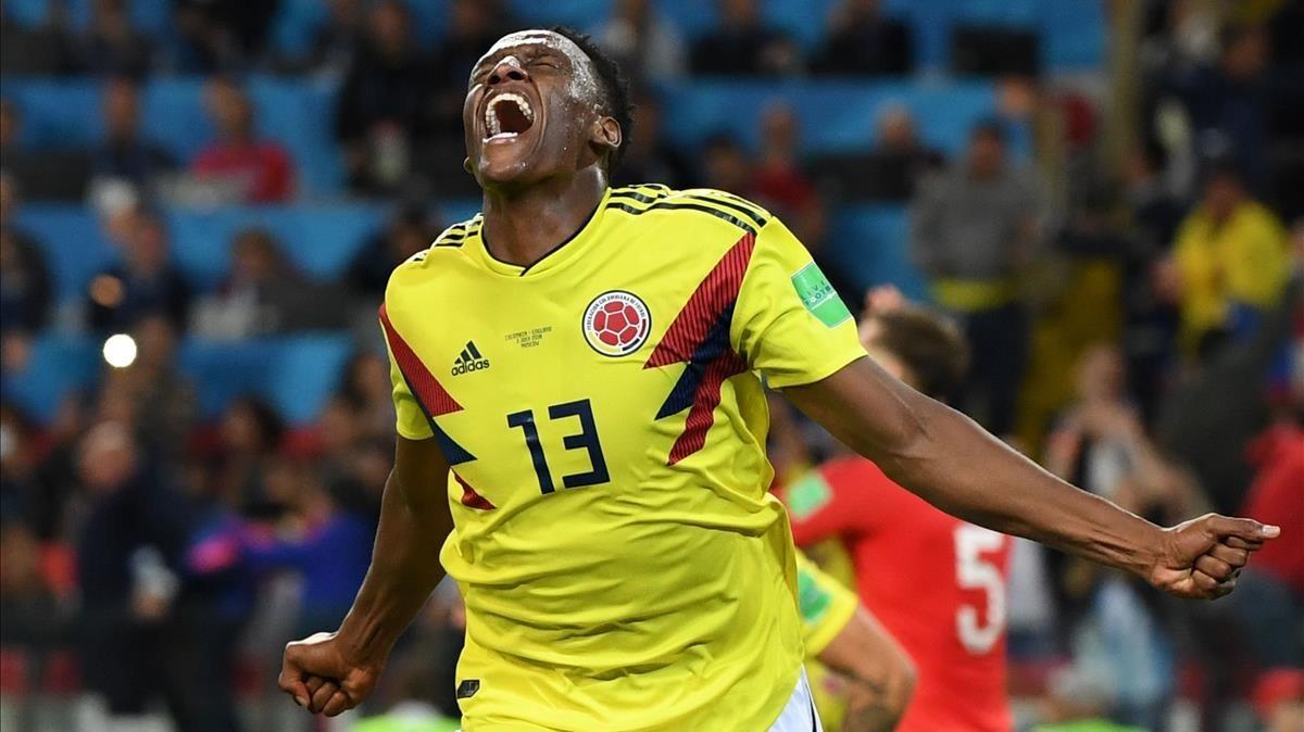 Yerry Mina celebra el gol que llevó a la prórroga el Colombia-Inglaterra.