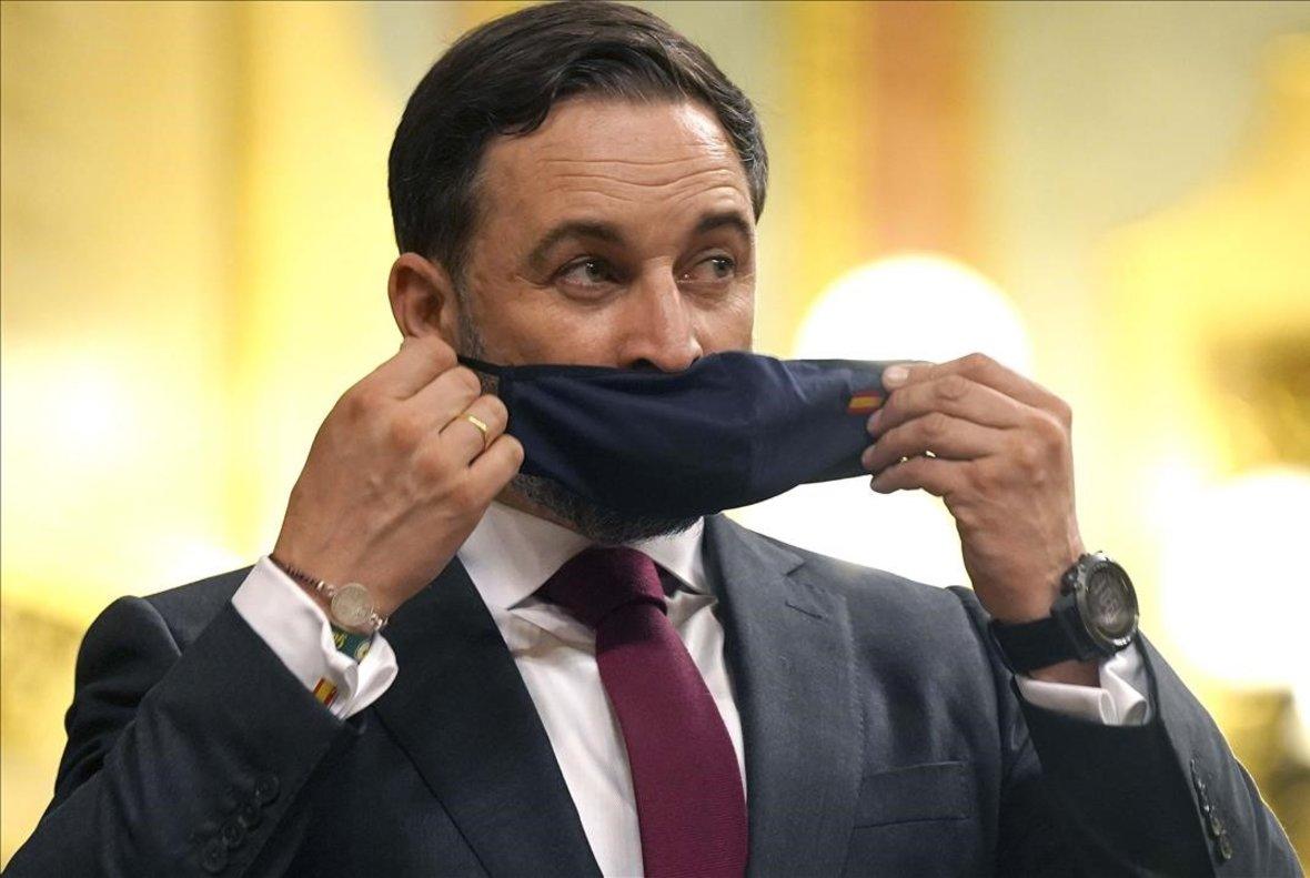 Santiago Abascal, durante la moción de censura de Vox contra el Gobierno.