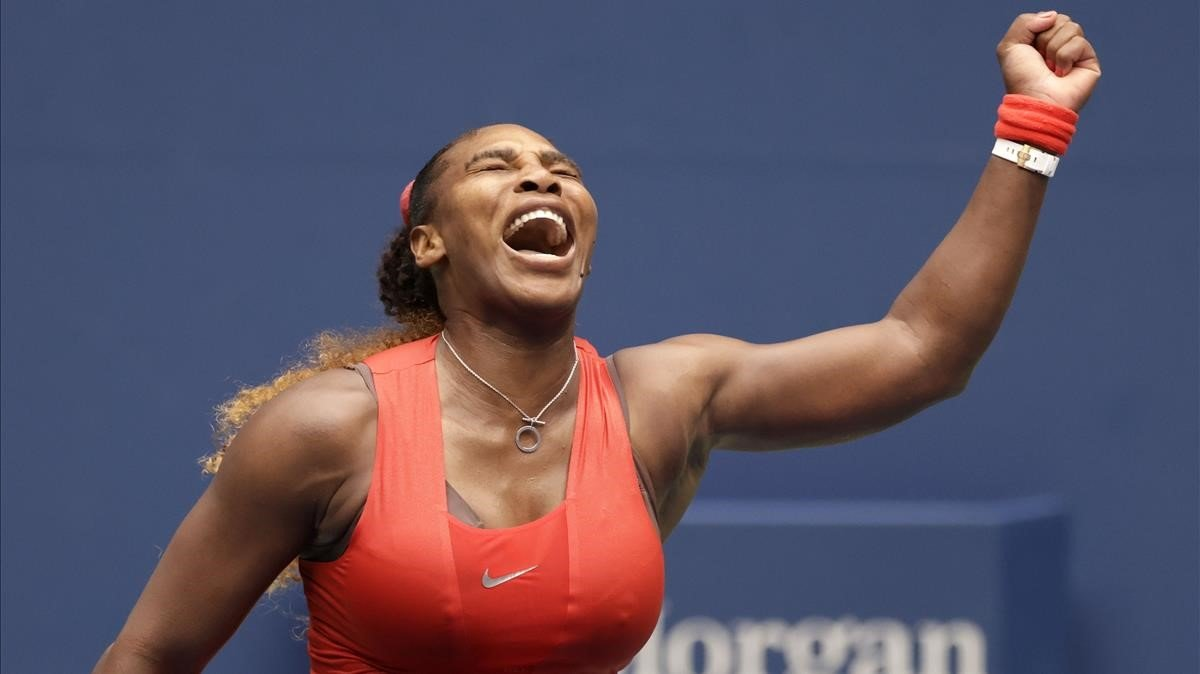 Serena celebra su victoria ante Pironkova.