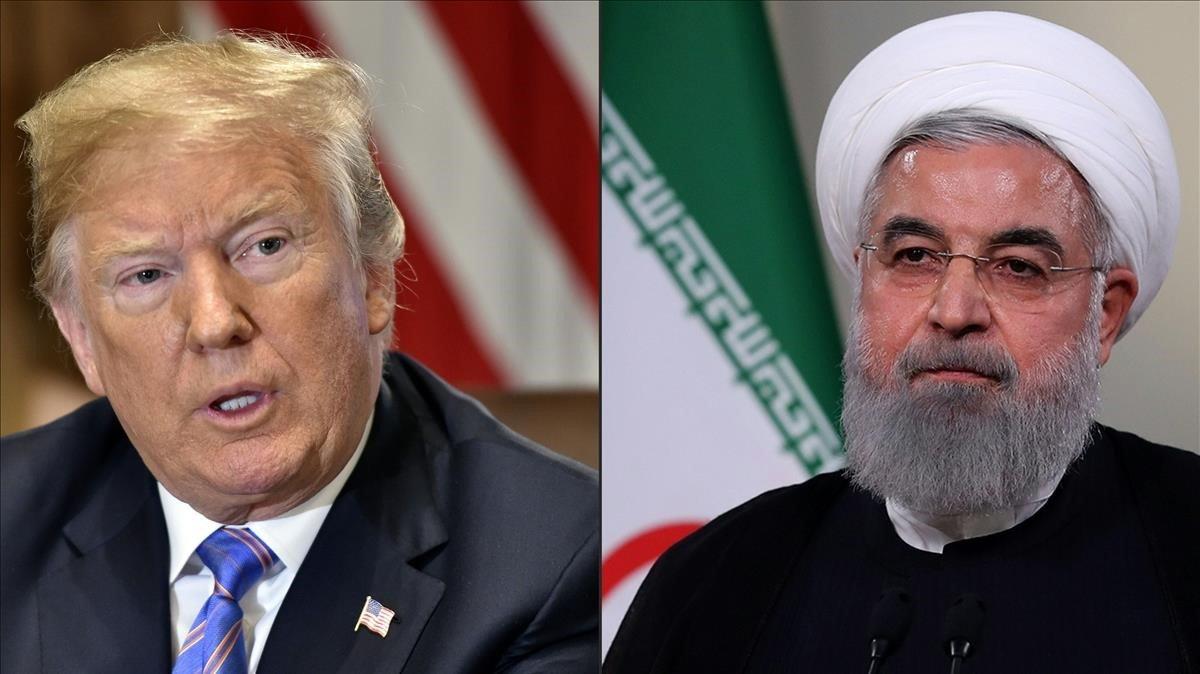 El presidente de EEUU, Donald Trump, y el presidente iraní, Hasán Rohaní.