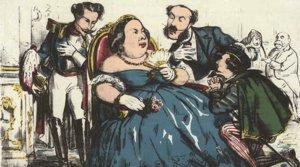 Una caricatura de Isabel II, durante cuyo reinado se desarrolla la novela 'La de Bringas' de Benito Pérez Galdós.