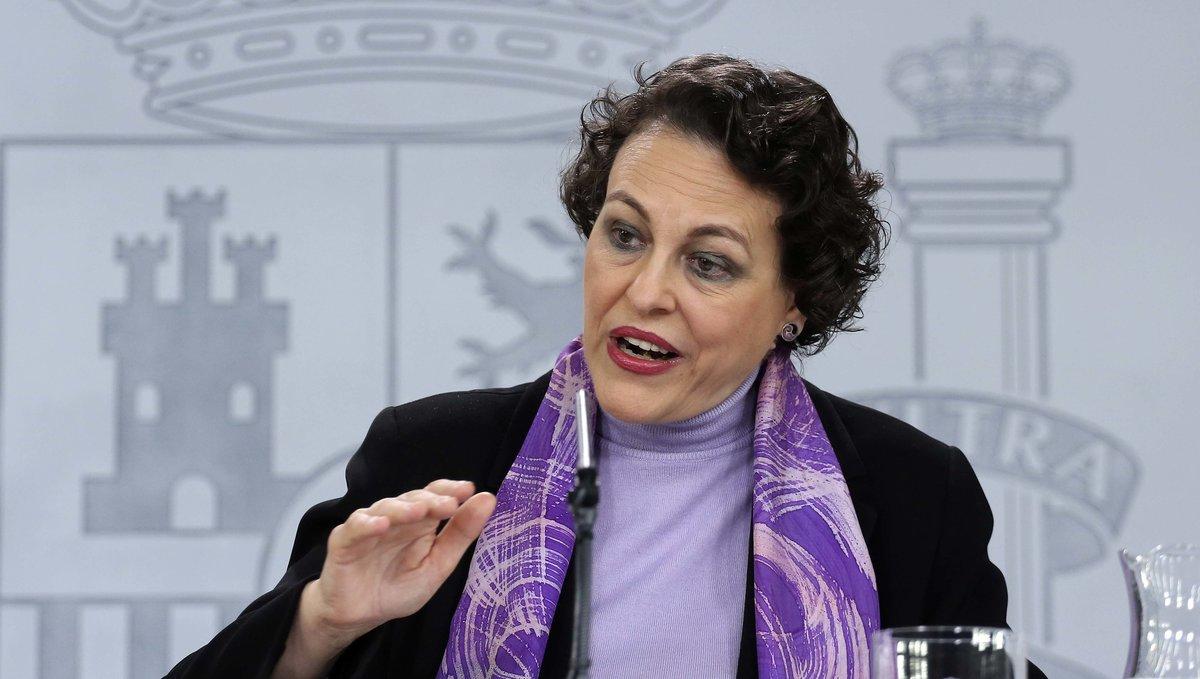 La ministra de Trabajo,Magdalena Valerio, en la rueda de prensa posterior del Consejo de Ministros.