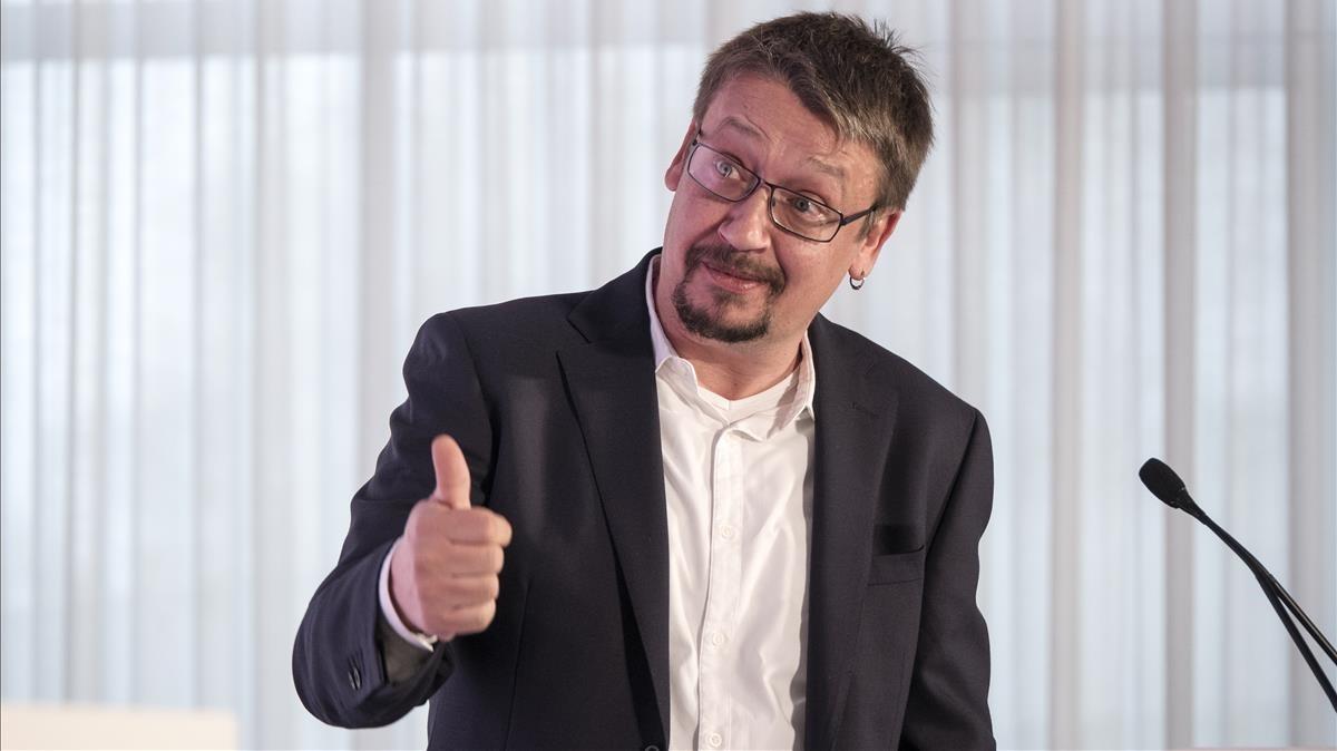 El líder de Catalunya en Comú-Podem, Xavier Domènech, en un acto en la pasada campaña electoral.
