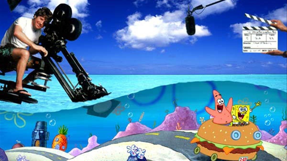 Montaje en el que Stephen Hillenburg simula rodar en Fondo de Bikini.
