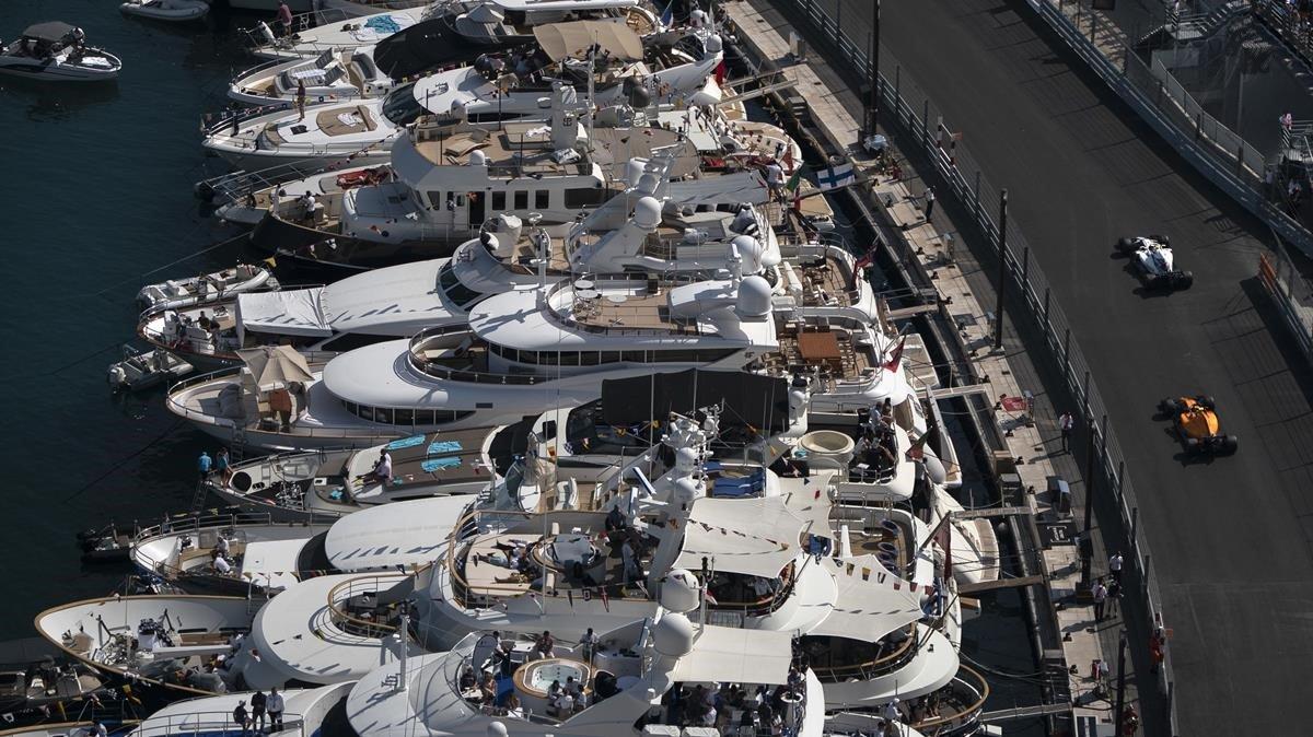 Vista aérea de Mónaco, durante el Gran Premio del 2018.