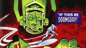Galactus y su heraldo, Estela Plateada, dibujados por Jack Kirby.