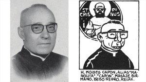 Fotografía del hermano Moisés González junto a la caricatura que le hizo el dibujante Miguel Gallardo para la revista El Víbora.