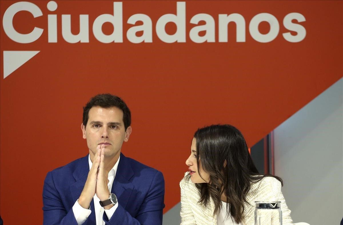 Albert Rivera e Inés Arrimadas durante la reunión del Comité Ejecutivo de Ciudadanos.