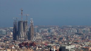 Barcelona en un día de alta contaminación del aire,el pasado mes de julio.