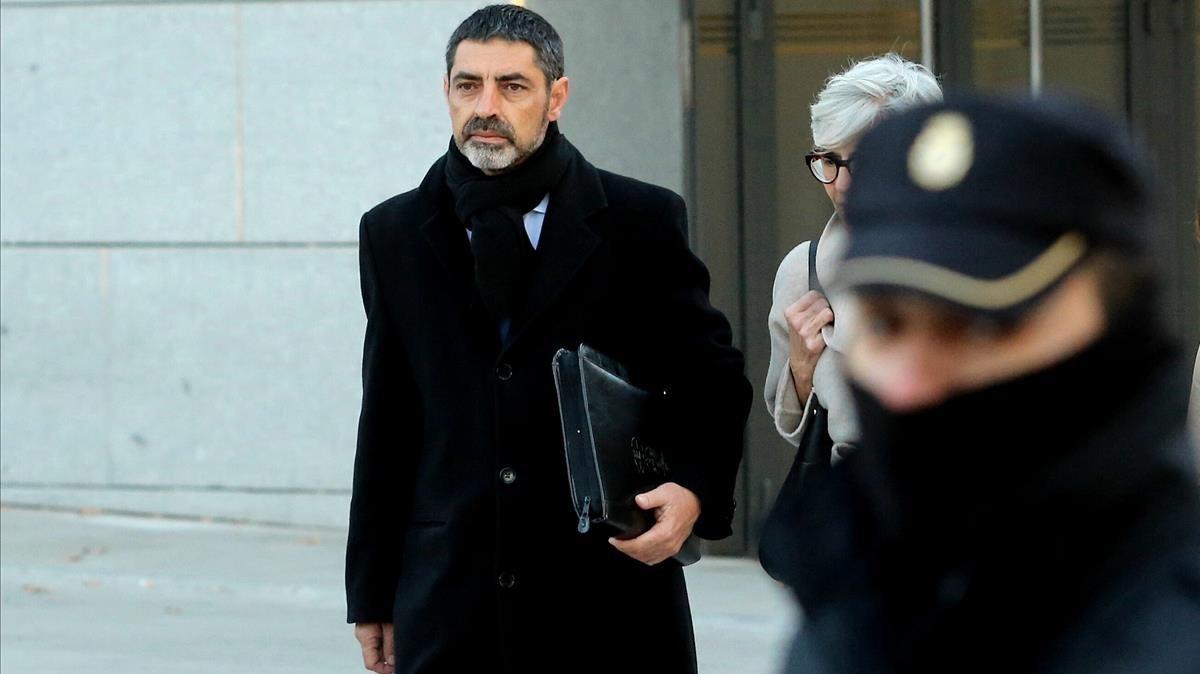 El exjefe de los Mossos Josep Lluís Trapero a su llegada a la Audiencia Nacional.
