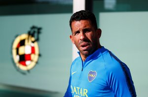 Boca Juniors Press Conference - Spanish Football Federation Headquarters, Las Rozas, Spain - Boca Juniors' Carlos Tevez during a press conference  REUTERS/Javier Barbancho