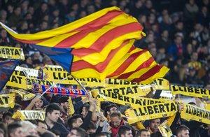 Grada del Camp Nou durante un partido del Barça.