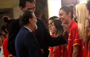 Alba Torrens, durante la recepción del equipo en el palacio de la Moncloa.