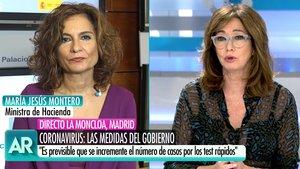 """Ana Rosa, a María Jesús Montero: """"No es momento de culpar, pero deben reflexionar por las marchas del 8M"""""""