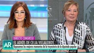 Celia Villalobos agradece a Ana Rosa haberla defendido de los abucheos de las feministas