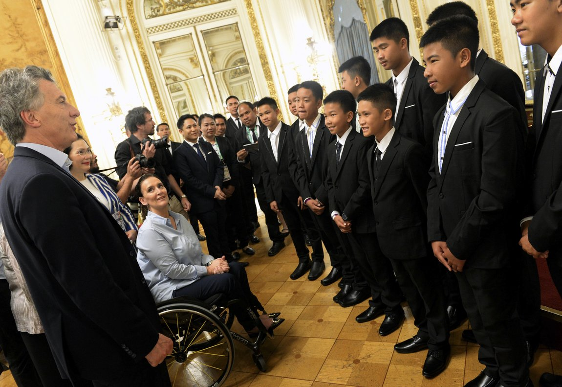 In this handout picture released by the Office of the President of Argentina  members of the Thai team Wild Boars meet with Argentina President Mauricio Macri and Vice President Gabriela Michetti  at the government house in Buenos Aires  Argentina. The Office of the President of Argentina Photo via AP