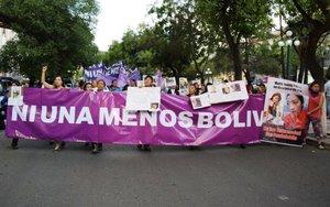 Protestas en Bolivia contra los feminicidios.