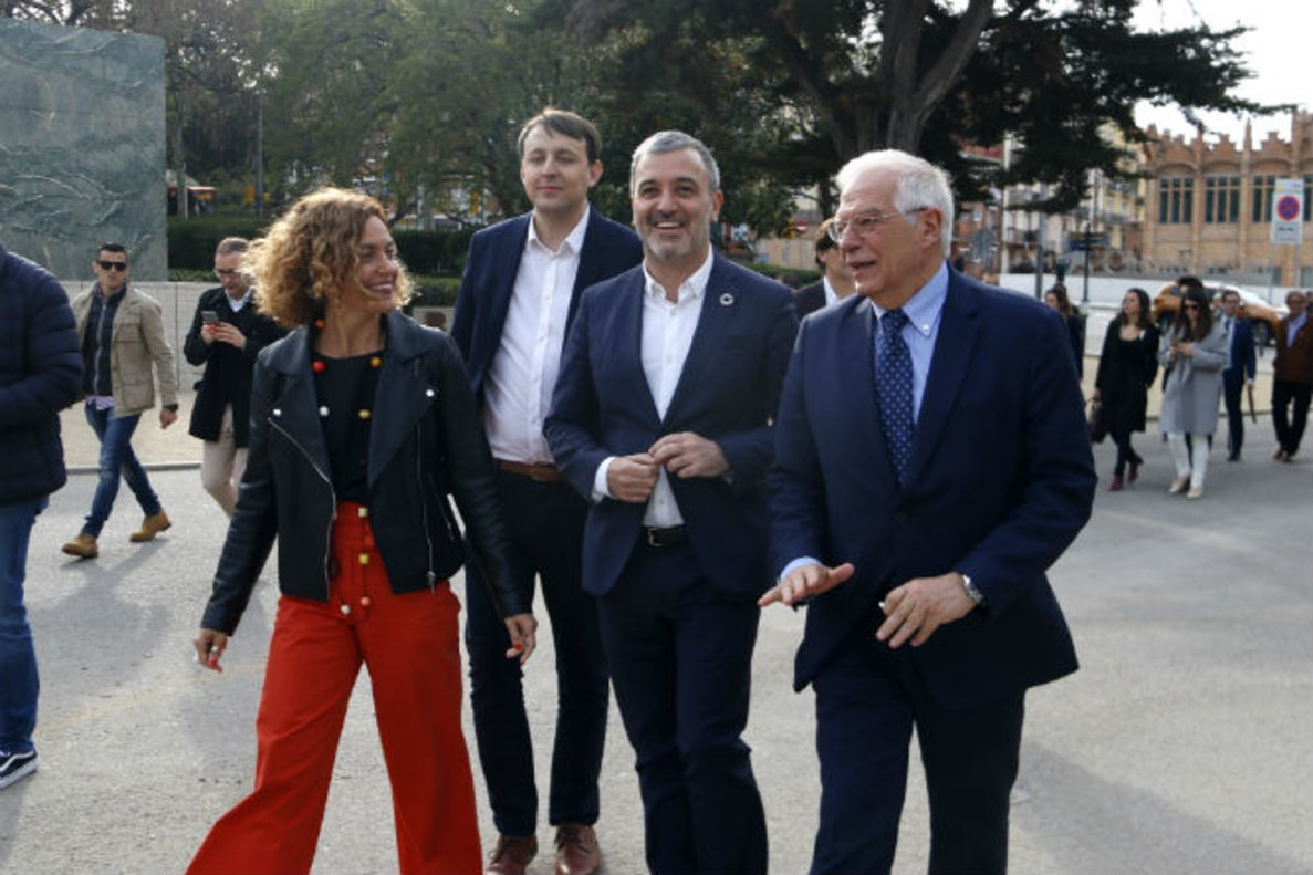 Meritxell Batet, Javi López, Jaume Collboni y Josep Borrell.