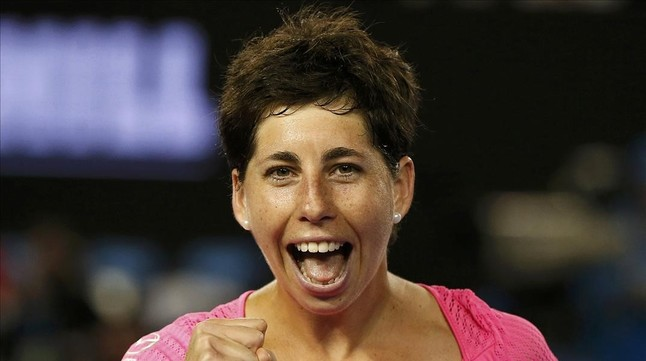 Carla Suárez festeja una victoria