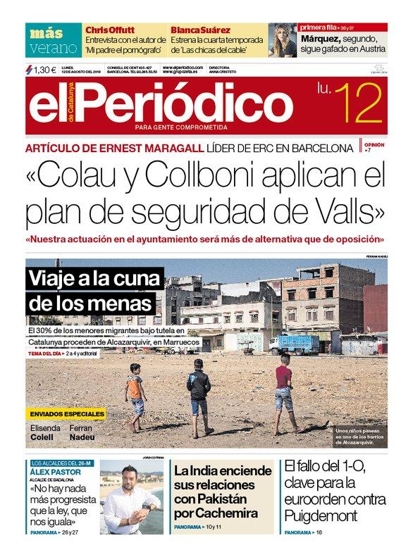 La portada d'EL PERIÓDICO del 12 d'agost del 2019