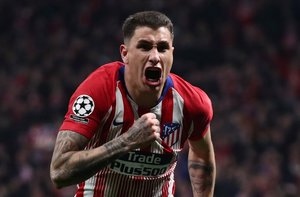 Soccer Football - Champions League - Round of 16 First Leg - Atletico Madrid v Juventus - Wanda Metropolitano Madrid Spain - February 20 2019 Atletico Madrid s Jose Gimenez celebrates scoring their first goal REUTERS Sergio Perez