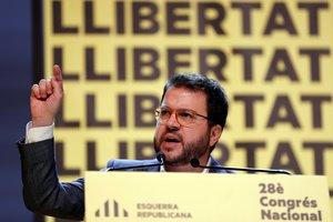 El coordinador general de ERC y vicepresidente de la Generalitat, Pere Aragonès, durante el congreso nacional que ERC celebra este sábado en Barcelona.