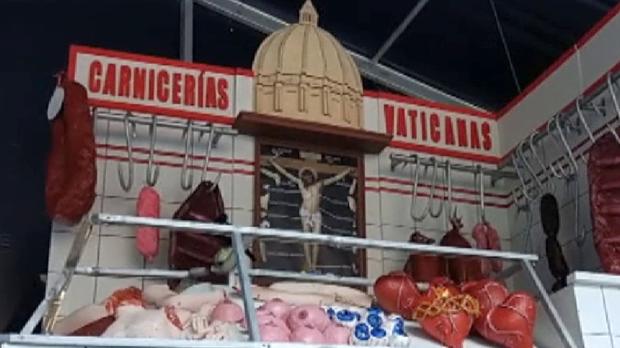 La imagen ha sido retirada por la Ertzaintza después de una denuncia contra sentimientos religiosos.