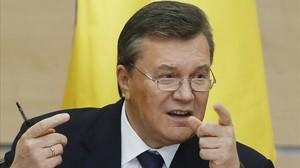 El deposat president Ianukóvitx, en una roda de premsa a la ciutat russa de Rostov, el 28 de febrer.