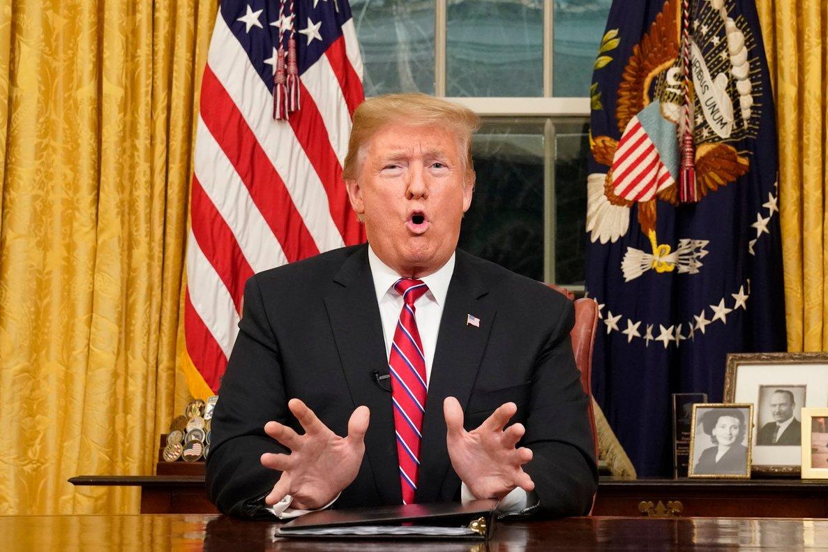 Donald Trump, durante su discurso a la nación sobre el Muro con México.