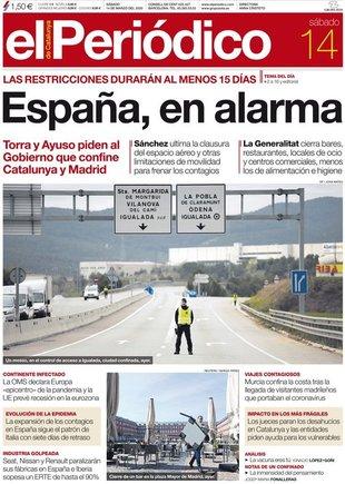 Prensa de hoy: Las portadas de los periódicos del sábado 14 de marzo del 2020